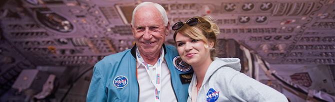 "Apollo 15 CMP Al Worden was a highlight of Kallman's ""Aerogare USA"" presentation during the Public Days of the Paris Air Show 2015"
