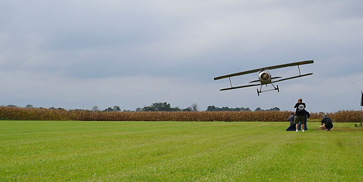 A replica Nieuport 11 buzzes our camera crew filming near Dayton, Ohio