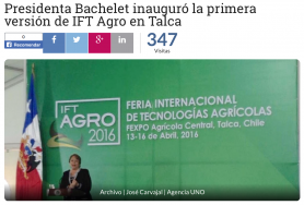 Chilean President Michele Bachelet Opens IFT-AGRO 2016