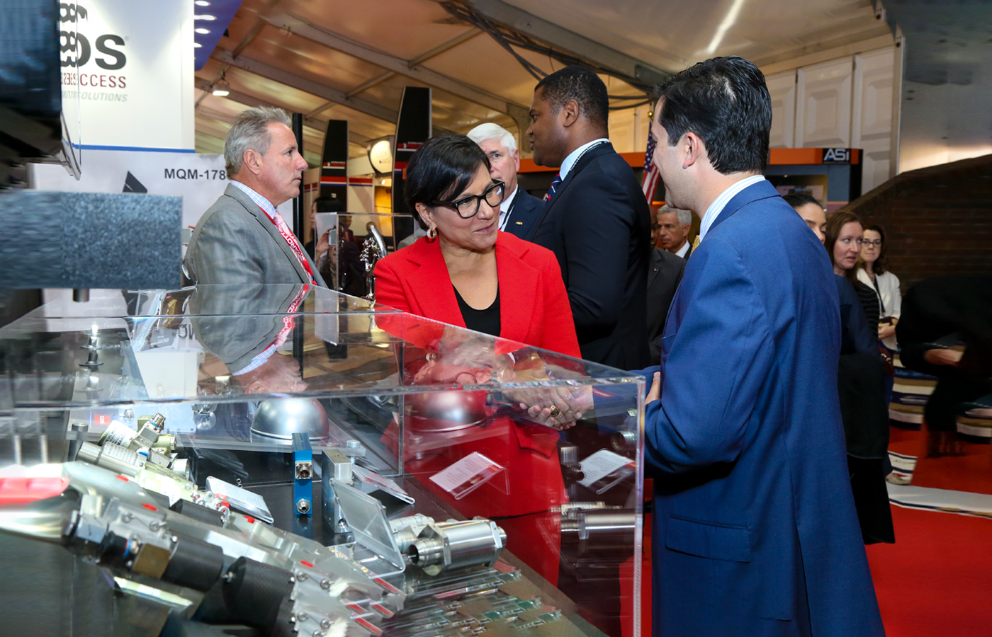 U.S. Commerce Secretary Penny Pritzker meets exhibitors at the Farnborough International Airshow 2016