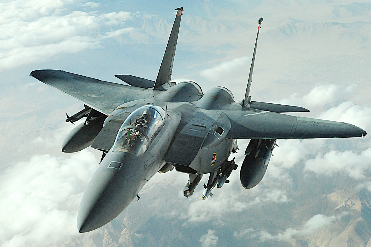 <h3>F-15E</h3>The F-15E Strike Eagle is a dual-role fighter designed to perform air-to-air and air-to-ground missions. An array of avionics and electronics systems gives the F-15E the capability to fight at low altitude, day or night and in all weather.